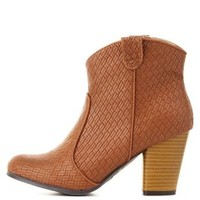 Camel Qupid Basket-Woven Booties by Charlotte Russe