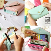 New Multifunctional Envelope Wallet Purse Phone Case for Iphone 5, Galaxy S2 S3