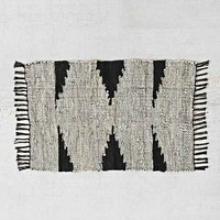 Magical Thinking Woven Leather Rag Rug- Black & White 2X3