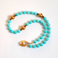 Turquoise Necklace with Gold Swarovski and Vermeil Toggle Clasp with White Freshwater Pearls