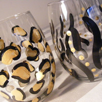 READY TO SHIP painted stemless wine glasses in leopard and zebra print