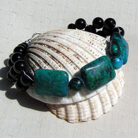Teal Chrysocolla & Black Onyx Crystal Gemstone Bracelet