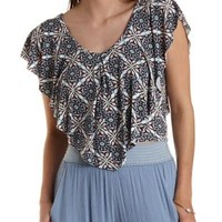Navy Combo Cropped Tile Print Flutter Top by Charlotte Russe