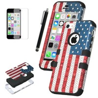 iPhone 5C Case, ULAK 3in1 Hybrid High Impact Shock Absorbing Soft Silicone and Hard PC Case for Apple iPhone 5C Fashion USA American Flag Pattern With Screen Protector and Stylus (Stars & Stripes /Black)
