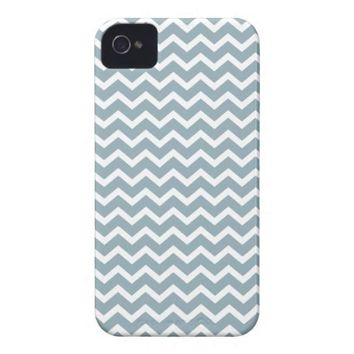 Blue Zig Zag Chevrons Pattern Iphone 4 Case from Zazzle.com