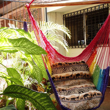 Rainbow Colors Sitting Hammock Hanging Chair Natural by hamanica