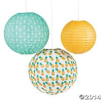 Pineapple-Printed Lanterns