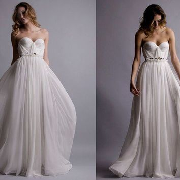 The Wedding Gown Silk Hand Gathered Bustier Gown by reddoll