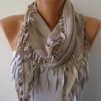 Beige Scarf    Pashmina Scarf   Headband Necklace Cowl by fatwoman