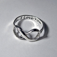 Infinity ring sterling silver handcrafted engraved stacking LOVE custom message