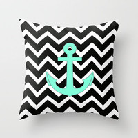 Tiffany Turquoise Anchor Black Zigzag Pattern Throw Pillow by Rex Lambo   Society6
