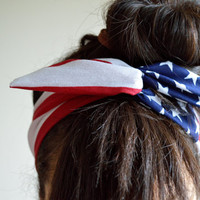 American Dolly bow Flag head band hair bow by JLeeJewels on Etsy