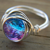 Silver plated wire wrapped cracked ice pink and blue ring