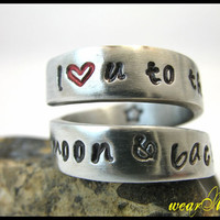 "Custom Aluminum Ring - Adjustable Wrap Ring.."" I love u to the moon and back"". Personalized / Custom Ring.. Hand Stamped. YOu WiLL LOvE iT"