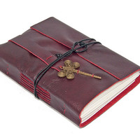 Deep Cherry Leather Journal with Dragonfly Bookmark