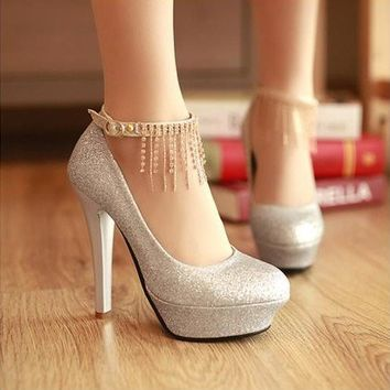 Gorgeous Glitter Tassel Chain Pretty High Heel Wedding Party  Shoes 3 Colors