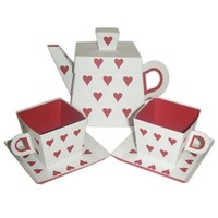 Large Heart Teapot and Small Teacups with Small by favormakers