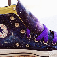 Galaxy Converse Sneakers Hand Painted Low Top