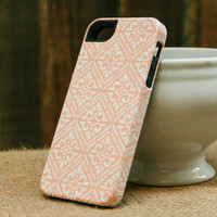 Peach Bohemian iPhone Case, Diamond Pattern Boho iPhone 4 / 4S, iPhone 5, Galaxy S3 / S4, or iPod Touch Cover, iPhone 5S, iPhone 5C Case