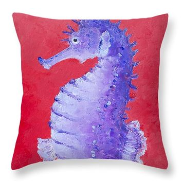 "Seahorse Painting on red background Throw Pillow 14"" x 14"""
