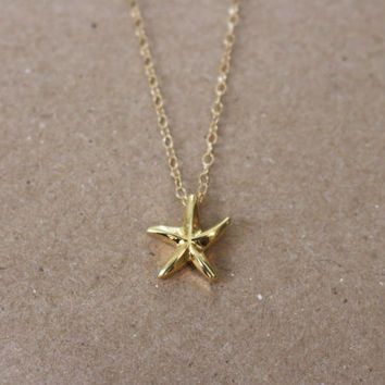 Gold Starfish Necklace / Starfish Necklace on a 14k Gold Filled or Sterling Silver Chain / Sea Life Necklace