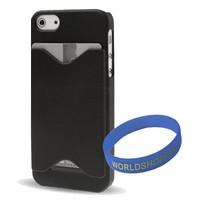 Iwotou Black ID/ Credit Card Holder Hard Case Back Cover for Apple iphone 5/ 5S + Free Accessories