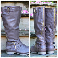 Buckle Down Tall Brown Zipper Riding Boots