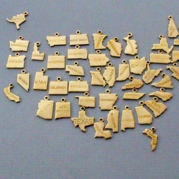 State Charm Necklace, Small Gold State Necklace, State Jewelry, State Shaped Charms
