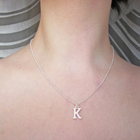 Tiny silver letter necklace - Silver initial necklace, monogrammed necklace, uppercase initial necklace, personalized jewelry