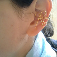 """Bow Ear Cuff 1"""" inch 24K Gold Color Sterling Silver Plated Graceful Dainty Left Earcuff Ear Wrap Simple Modern Contemporary 653"""