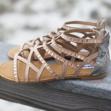 What A Girl Wants Bronze Gladiator Sandals