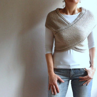 Hand Knitted Vest Cross Sweater Scarf Neckwarmer Poncho in Beige