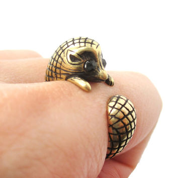 Realistic Hedgehog Porcupine Shaped Animal Wrap Ring in Brass   US Size 6 to 9
