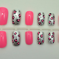 """Artificial Nails - """"Luxe Leopard"""" - Pink & Silver, Glitter Leopard Print, Hand Painted, Glue-on Fake Nails"""