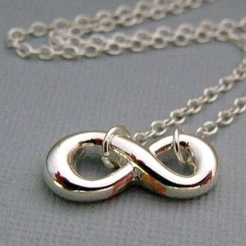Silver Plated Infinity Charm Necklace by pinkingedgedesigns