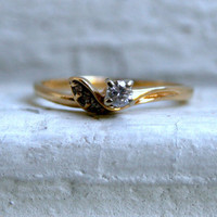 Sweet Vintage 14K Yellow Gold Diamond Solitaire Engagement Ring by Magic Glo.