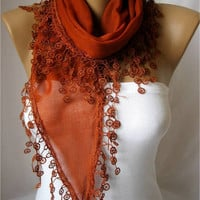 BIG SALE Off Elegant  Cotton Scarf with Trim Edge-red scarf