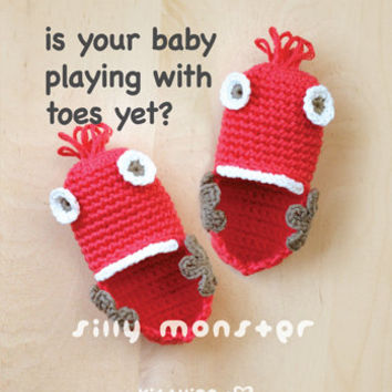 Is your baby PLAYING with TOES yet? Silly Monster Baby Booties Crochet Pattern, Instant PDF Download - Chart & Written Pattern