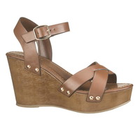 Brown Maxi Ankle Strap Wedge - Brown
