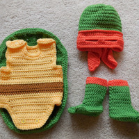 Ninja Turtle Costume: Hat/mask, Cocoon,Booties - for babies, infants, photo prop, Halloween