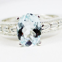 Oval Engraved Aquamarine Sterling Silver Ring