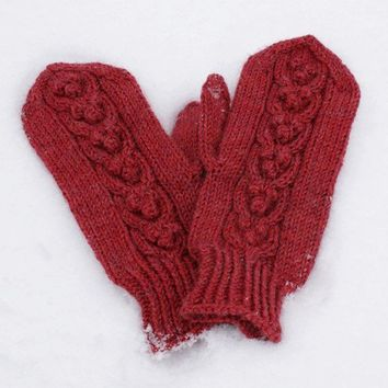 Cabled Mittens with Bobbles Cranberry Red Lambswool by SunnyHands
