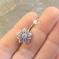 Smokey Amethyst and White Flower Belly Button Ring Blush Pearl