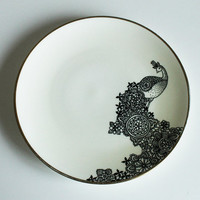 Pretty Peacock hand illustrated plate by yvonneellen on Etsy