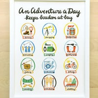 Adventure a Day 11x14 art print poster vintage style drawing handwritten calligraphy outdoorsy nursery decor baby childrens boy girl gift