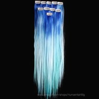 18'' 6pcs Synthetic Ombre Dip Dyed Hippie Hair Human Extension Clip in 27colors WGY57 Blue / Sky Blue / Light Blue