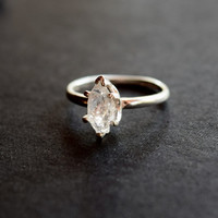 Raw Diamond Engagement Ring Rough Natural and Uncut Wedding Band Raw Gemstone