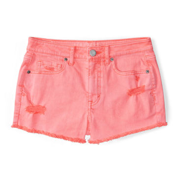 High-Waisted Destroyed Neon Denim Shorty Shorts