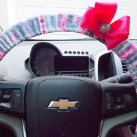 Steering Wheel Cover Candy Stripe Damask in Pink Red Grey White