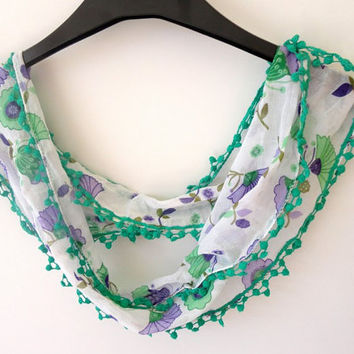 scarf , cotton fashion scarves, floral print , green, purple, white , summer spring trendscarf